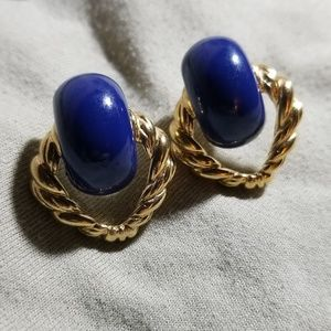 Trifari vintage goldtone & deep blue earrings